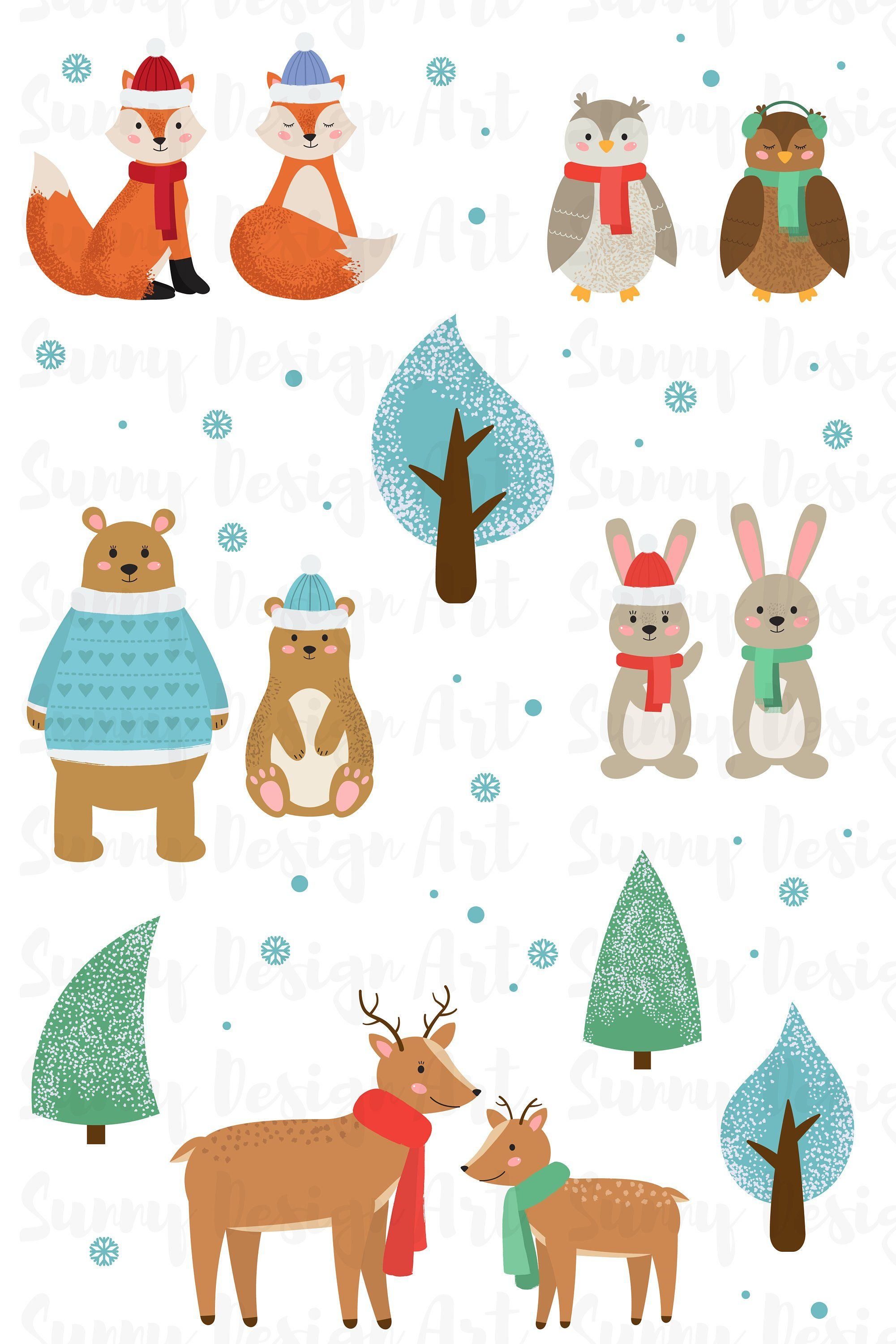Winter animals clipart Cute Forest animals vector Woodland.