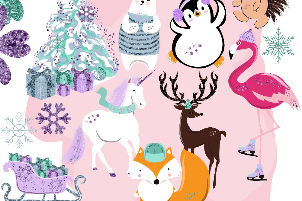 Winter Animals Clipart.