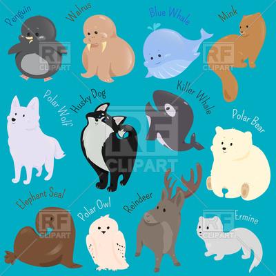 Set of cute cartoon winter animals Vector Image.