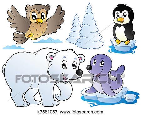 Various happy winter animals Clip Art.