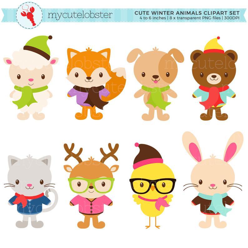 Cute Winter Animals Clipart Set.