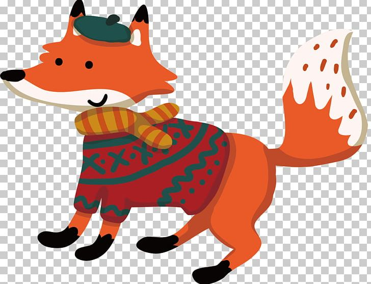 Cartoon Fox Winter Illustration PNG, Clipart, Animals.