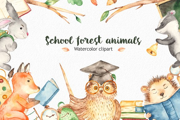 School forest animals Watercolor.