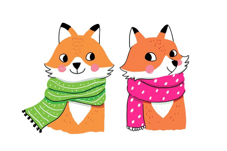 winter foxes in scarfs.