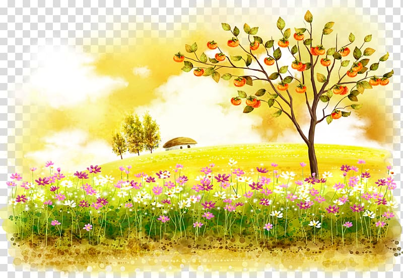 Apple tree beside flower field , Autumn Winter Illustration.