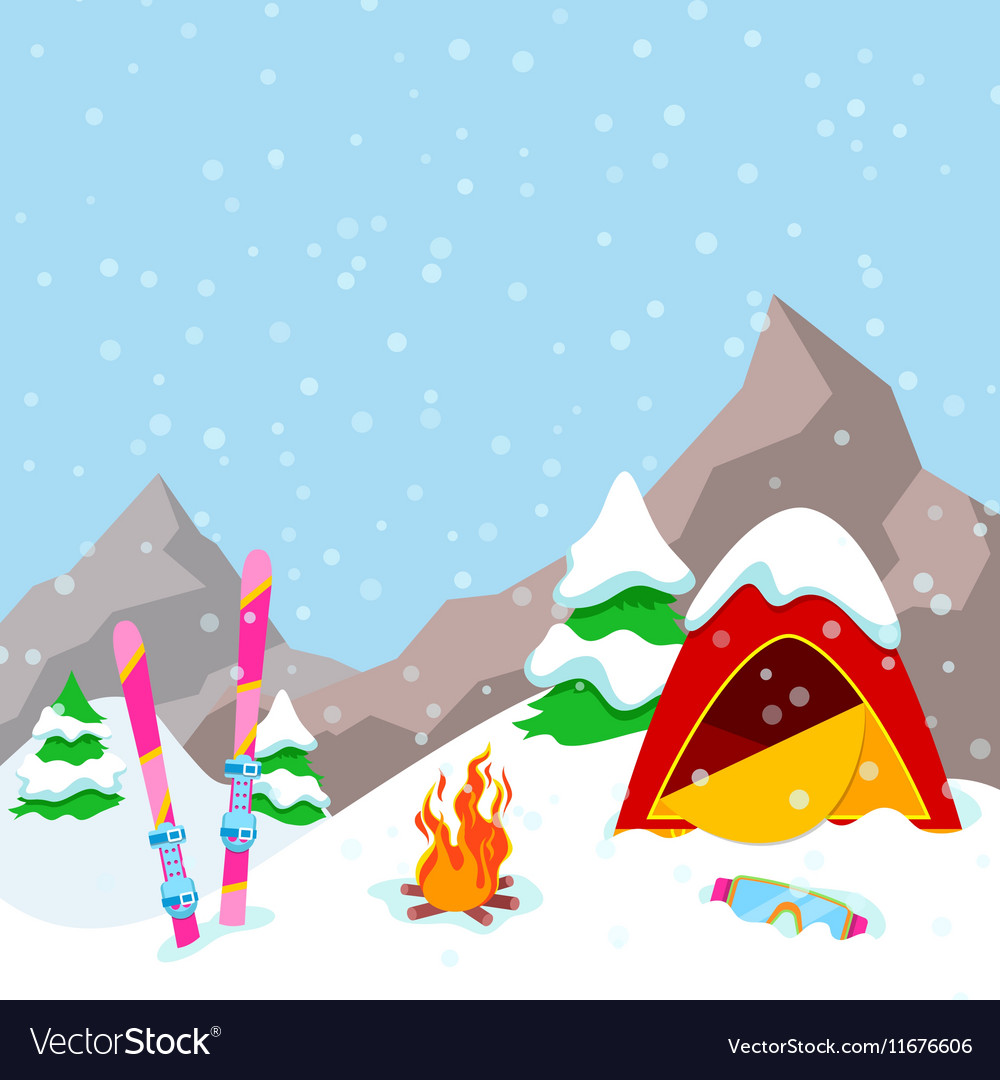 Winter Camp Mountains Landscape with Tent.