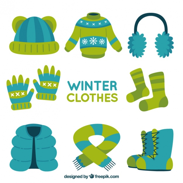 Variety of comfortable winter clothes Vector.
