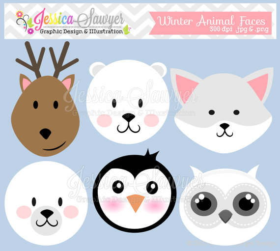 INSTANT DOWNLOAD, winter animal faces clipart, reindeer clip art.