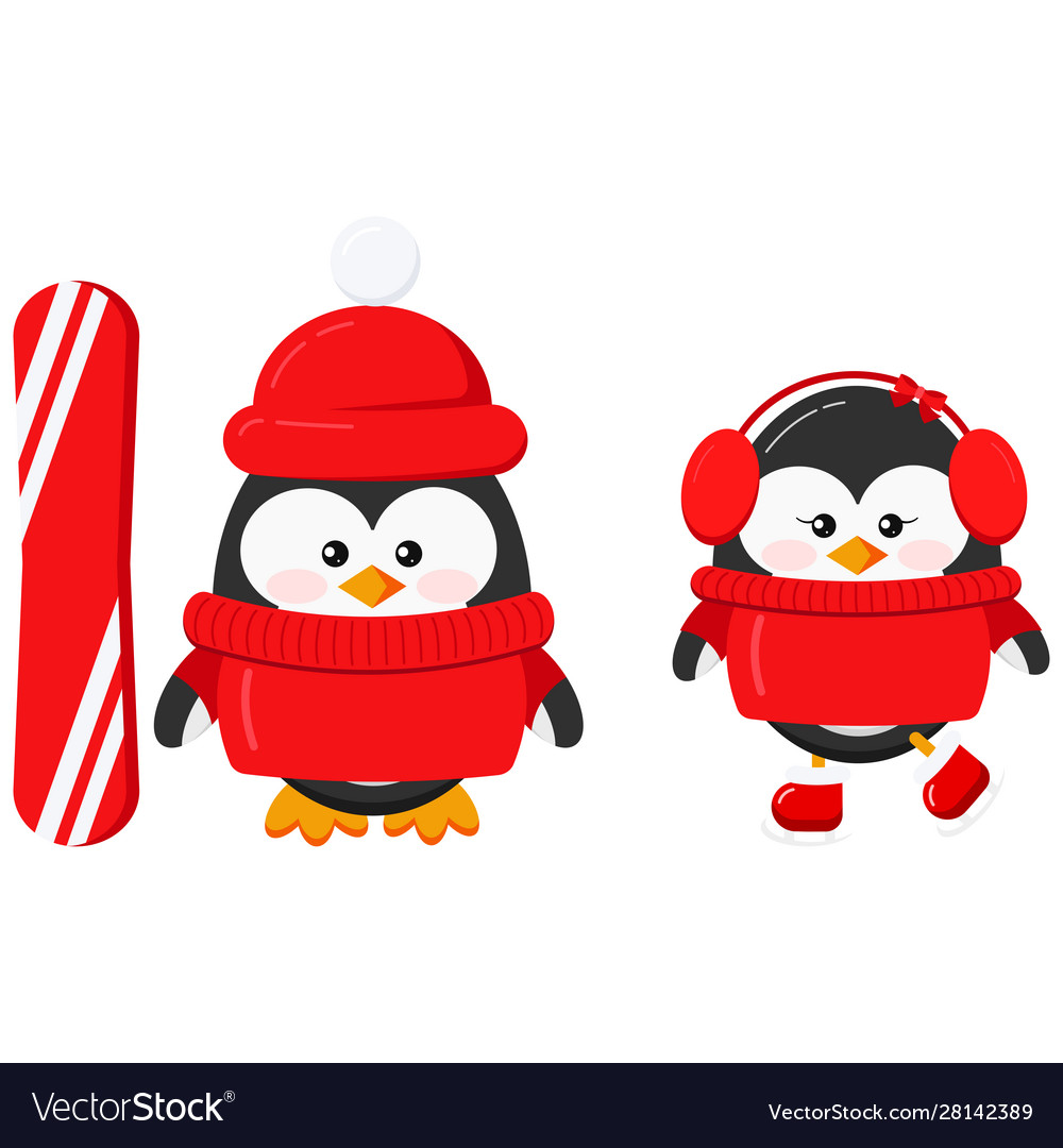 Cute winter sport penguin boy and girl couple set.