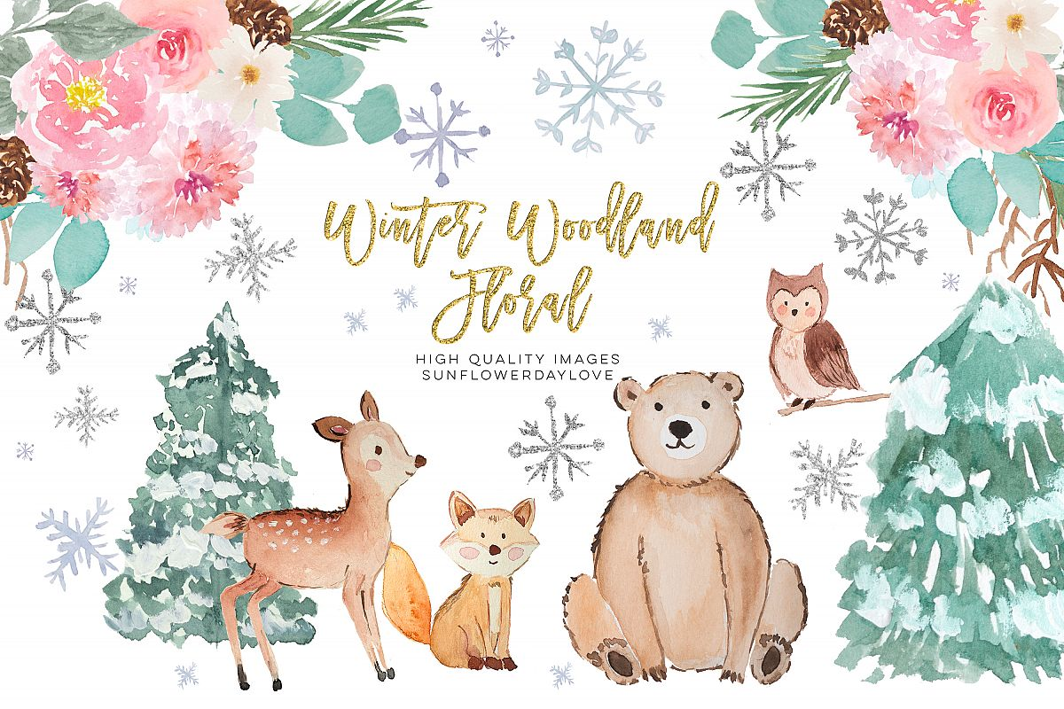 Winter Woodland Animals Clipart, Watercolor Forest Animals.