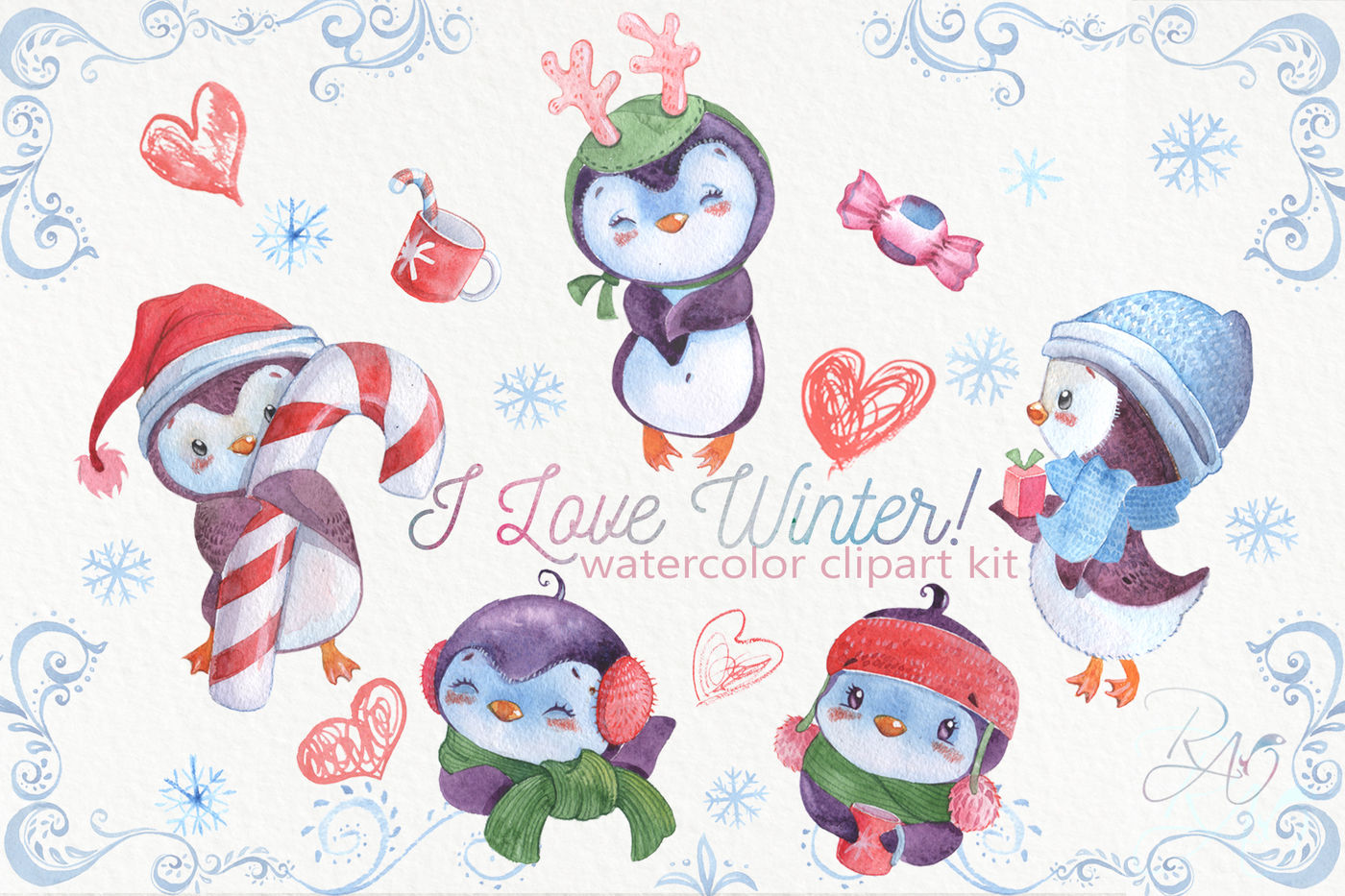Cute watercolor Christmas penguins clipart Winter baby.