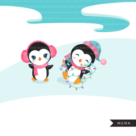 Christmas penguins clipart. Cute baby penguins in Christmas.
