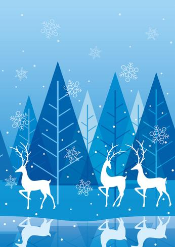 Seamless winter forest background with reindeer..