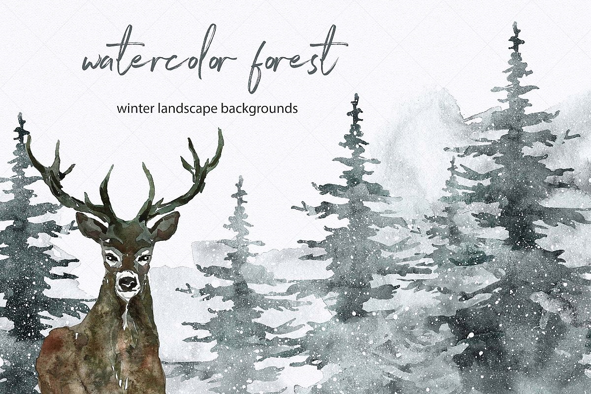 Winter Spruce Watercolor Pine tree Forest Landscape Clipart.