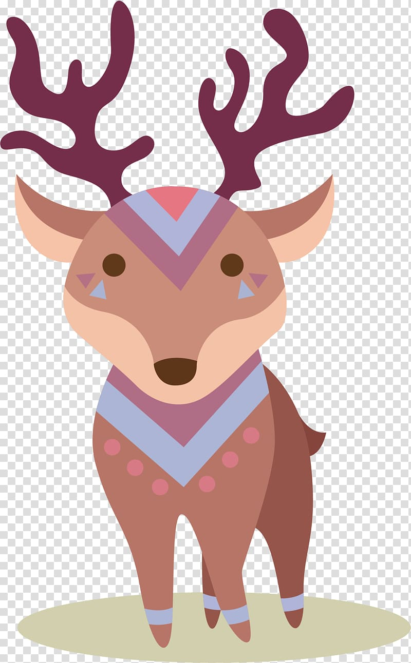 Deer Elk Cartoon, Winter elk transparent background PNG.