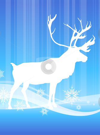 Deer on abstract winter background stock vector.