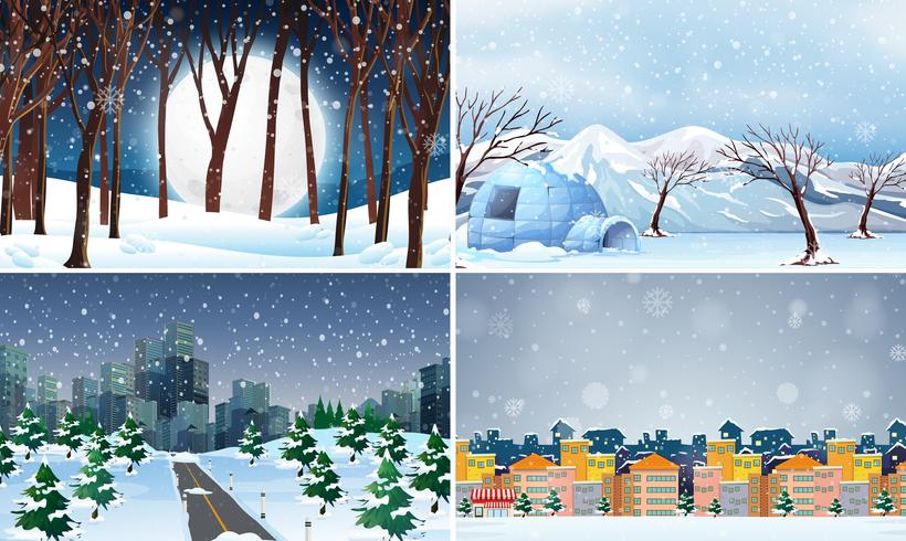 Set of cold winter background.