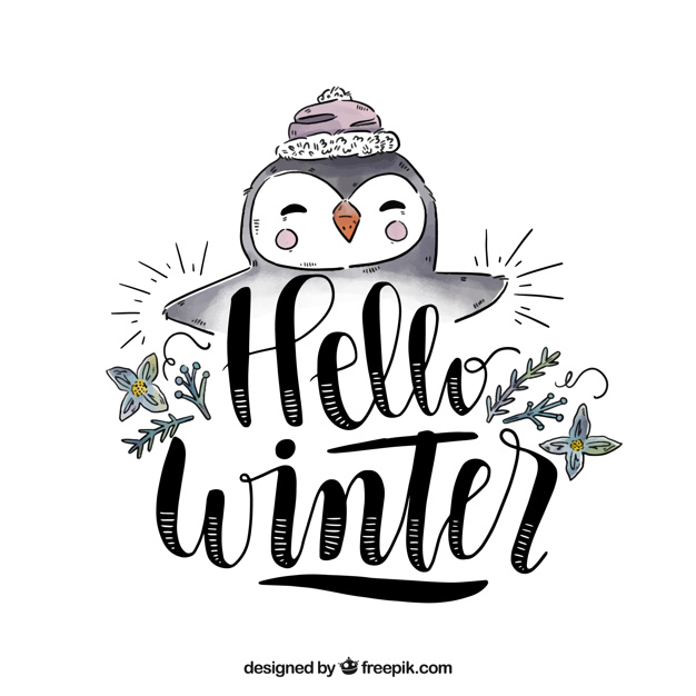 Hello winter background with a cute penguin Vector.