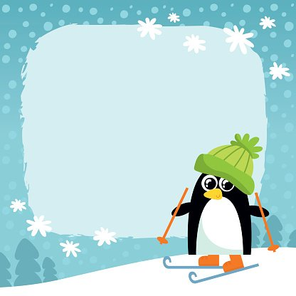 Vector penguin, winter snowy background Clipart Image.