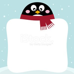 Winter penguin with blank banner on snowy background Clipart.