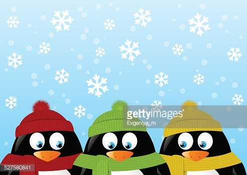 Funny penguin on winter background Clipart Image.