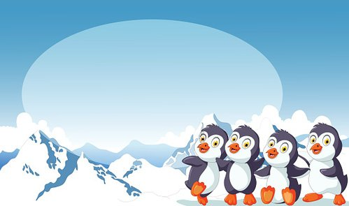 funny penguins cartoon with snow mountain background Clipart.