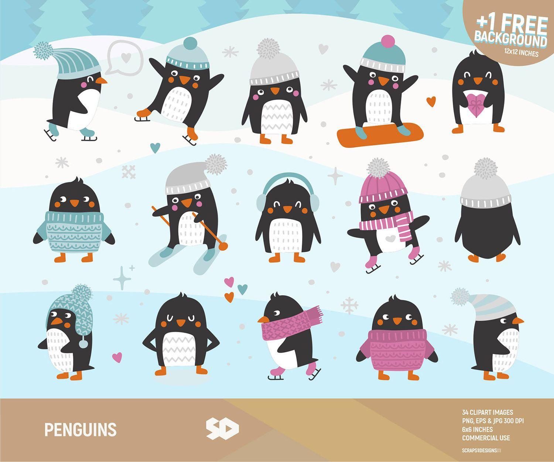 Penguins clipart, penguin clip art, winter clipart, snow.