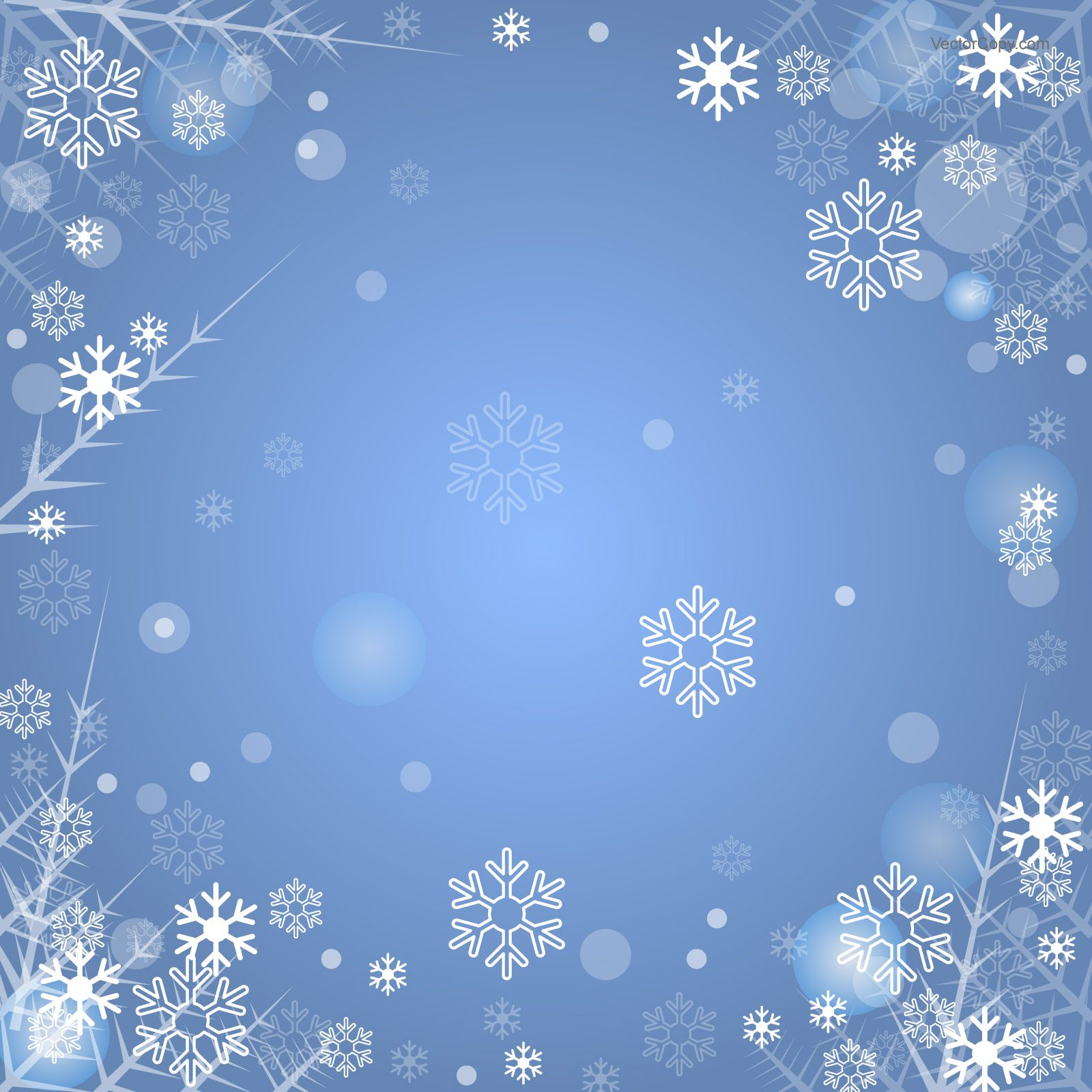 Blue winter background with snowflakes, download free vector.