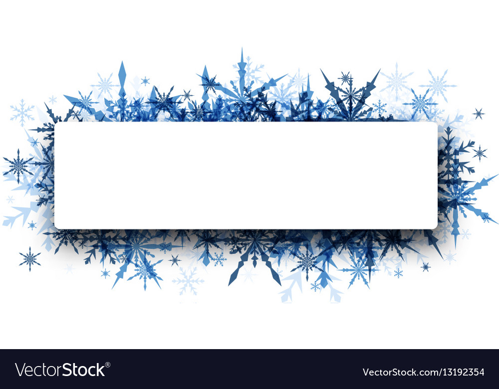 Winter banner with blue snowflakes.