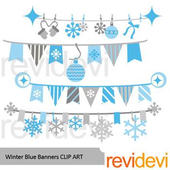 Winter clipart: Winter blue banners clip art.