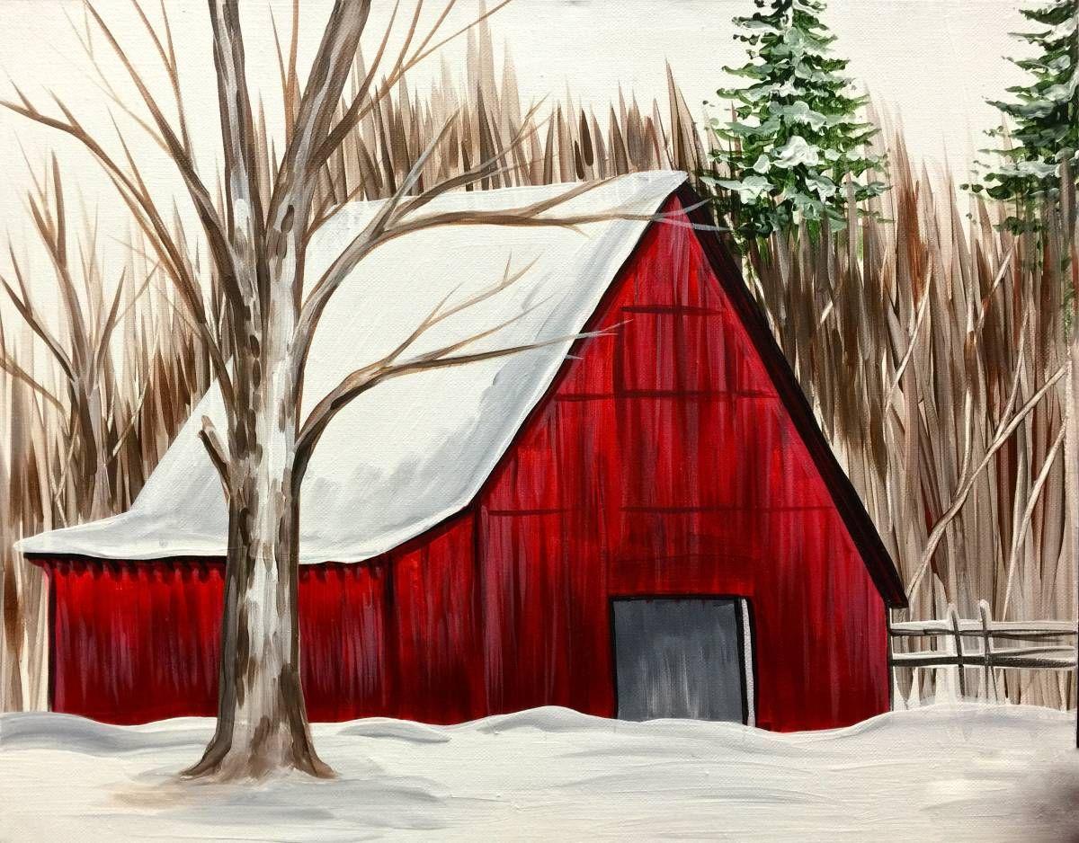 Winter Red Barn.