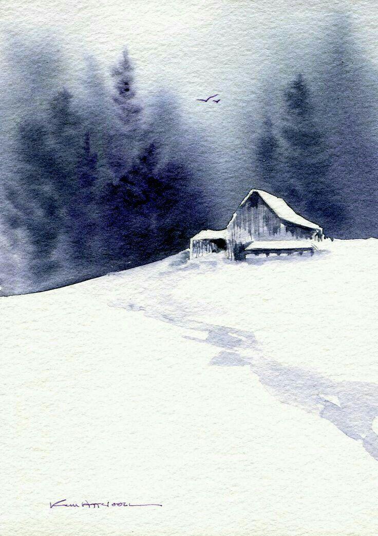 watercolor by Kim Attwooll #WinterLandscape in 2019.