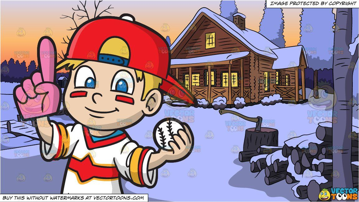clipart #cartoon A Baseball Fan Boy and Winter Lake House.