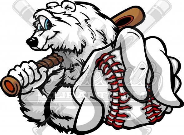 Winter Baseball Clipart Polar Bear with Baseball Ball.