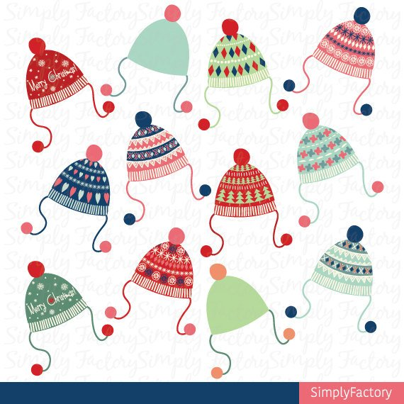 Christmas Clip Art,Santa Clipart,Beanie,Hat,Winter,Retro.