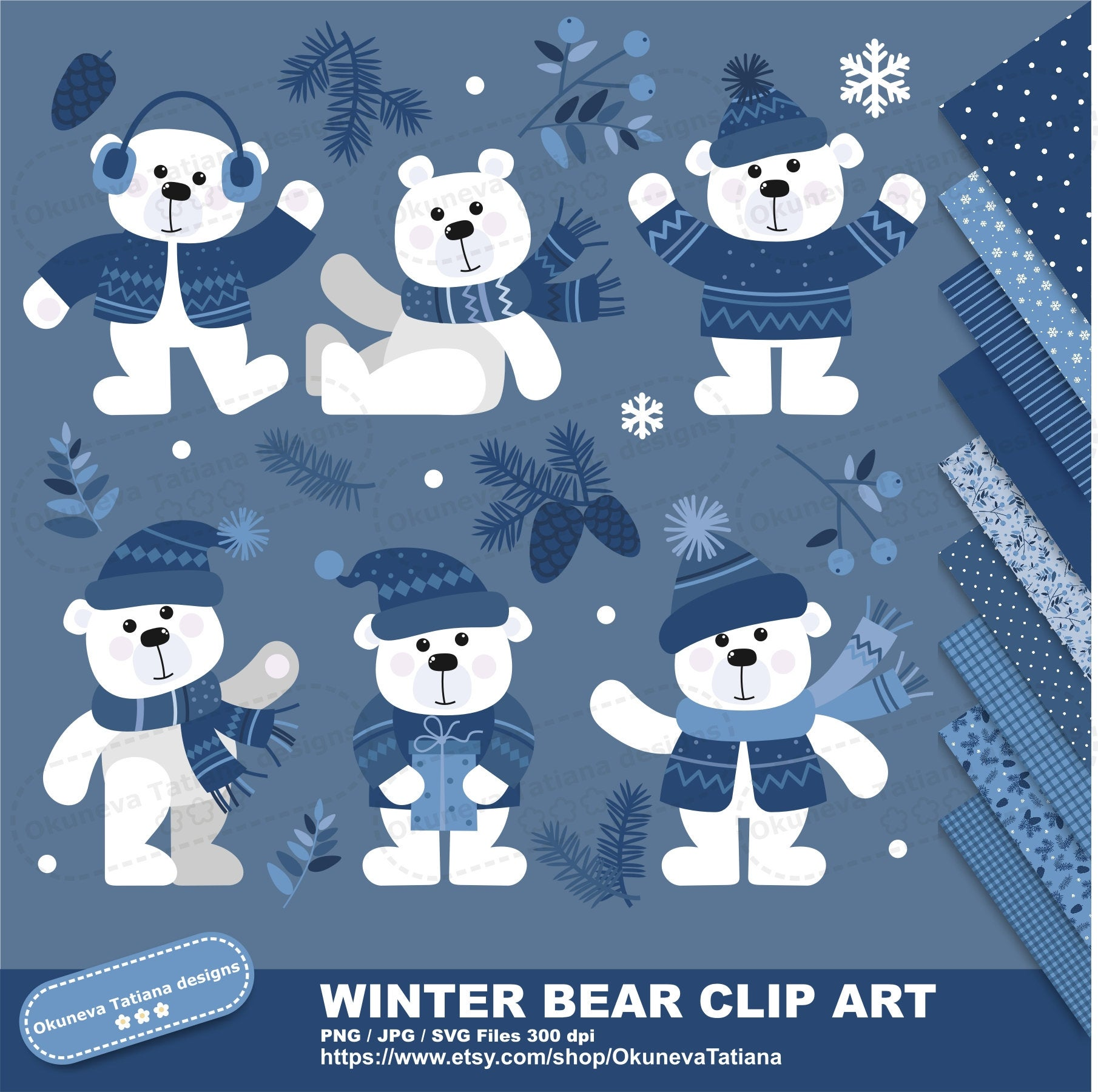 Winter Bear Clip Art Set, PNG Files Transparent Background, Digital Paper  Pack, JPG Seamless Pattern, Instant Download.