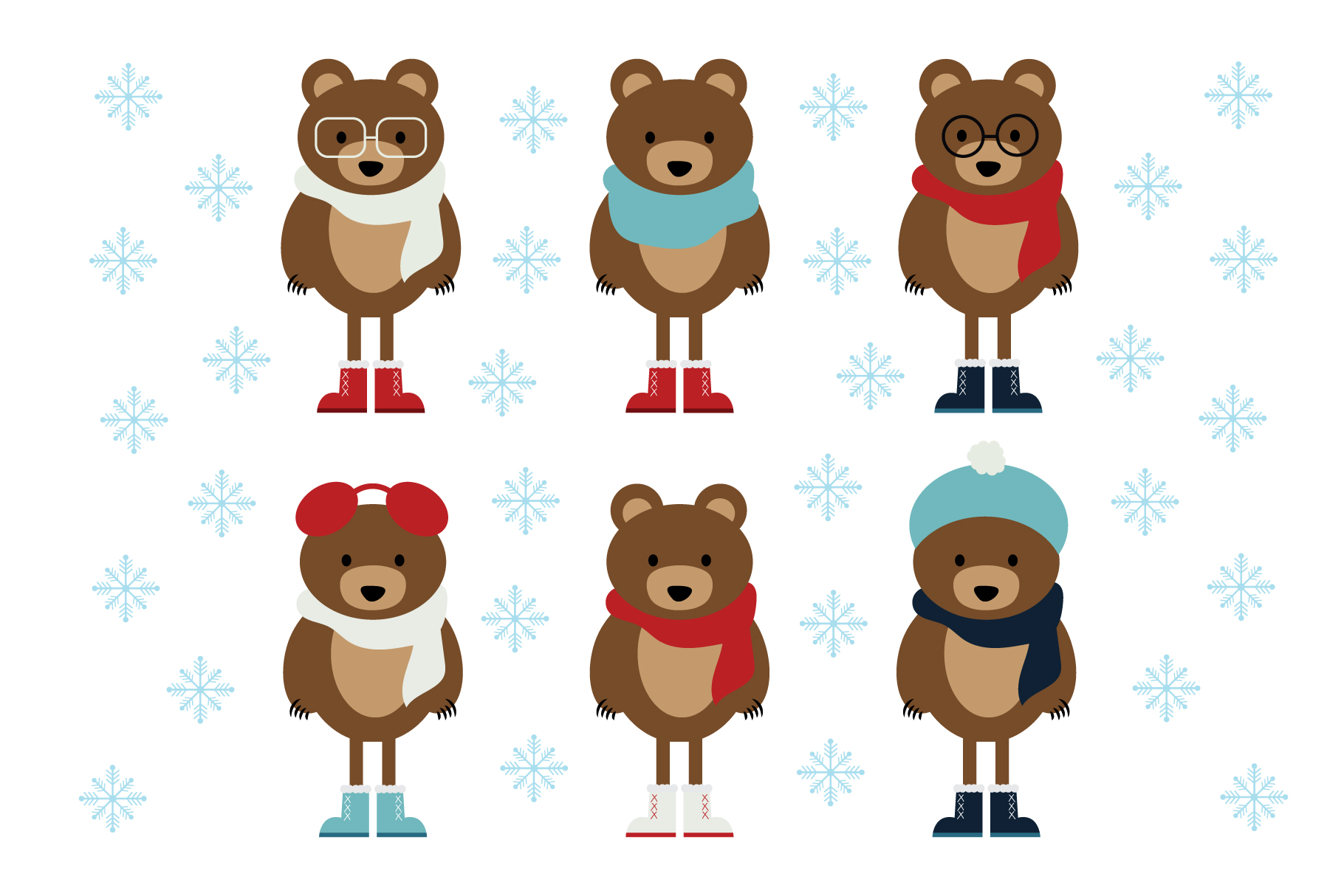 Winter Bears Clip Art Set.