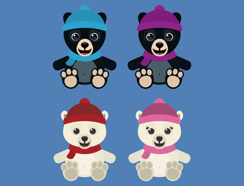 Winter Bear Bundle Clipart, baby bear clip art, cute bear graphics,  woodland animal vector, grizzly, brown, panda, black, polar, camping.