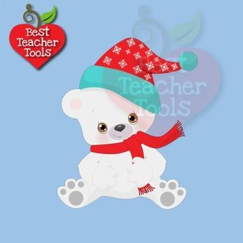 Polar Bear Clipart, Winter Bear Clipart, Cute Baby Bears, AMB.