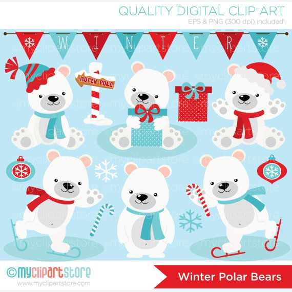 Polar Bears clipart, Christmas bears, north Pole, winter bears.