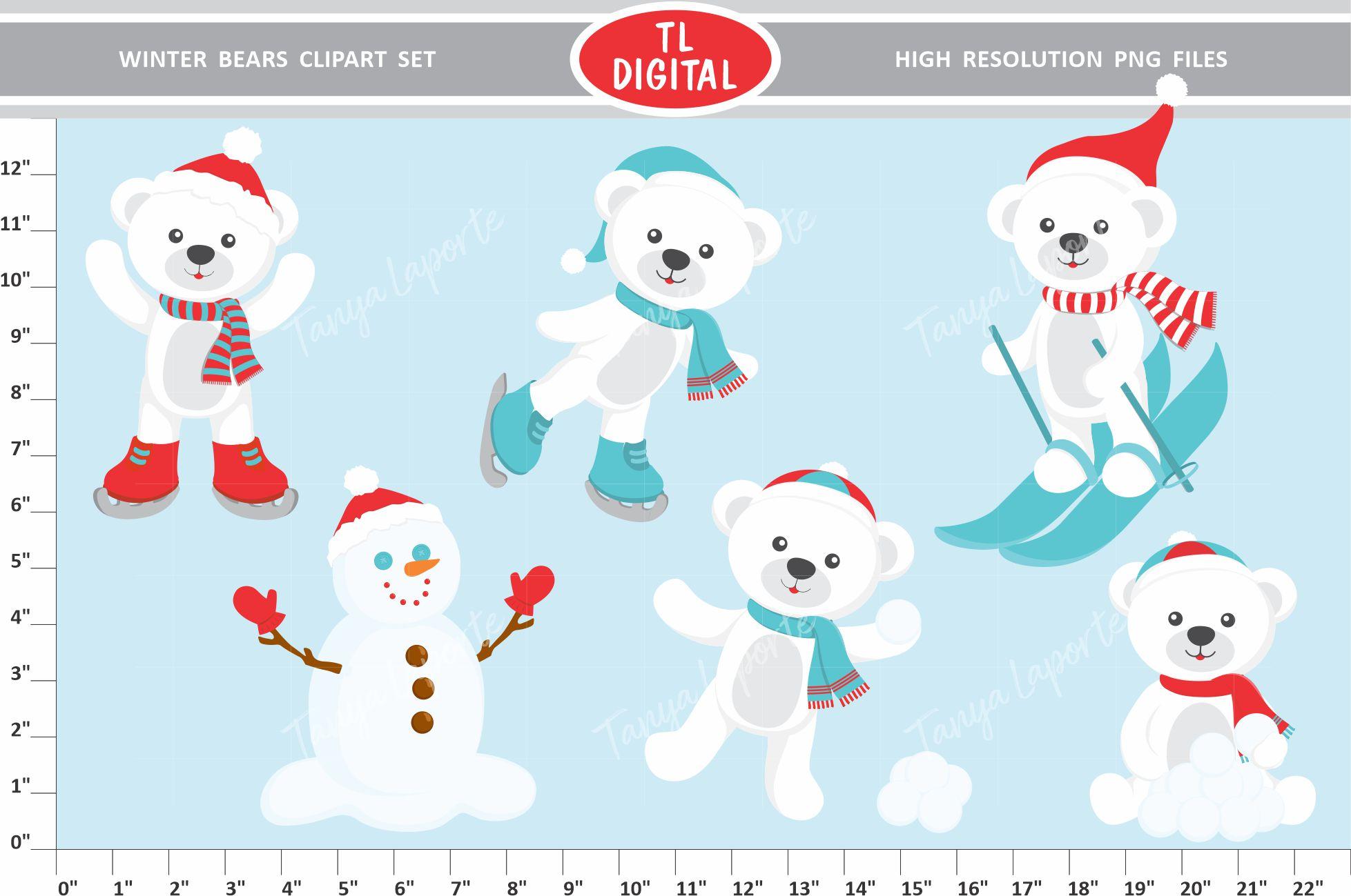 Winter Bears Clipart Set.