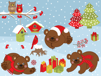 Winter Bears Clipart.