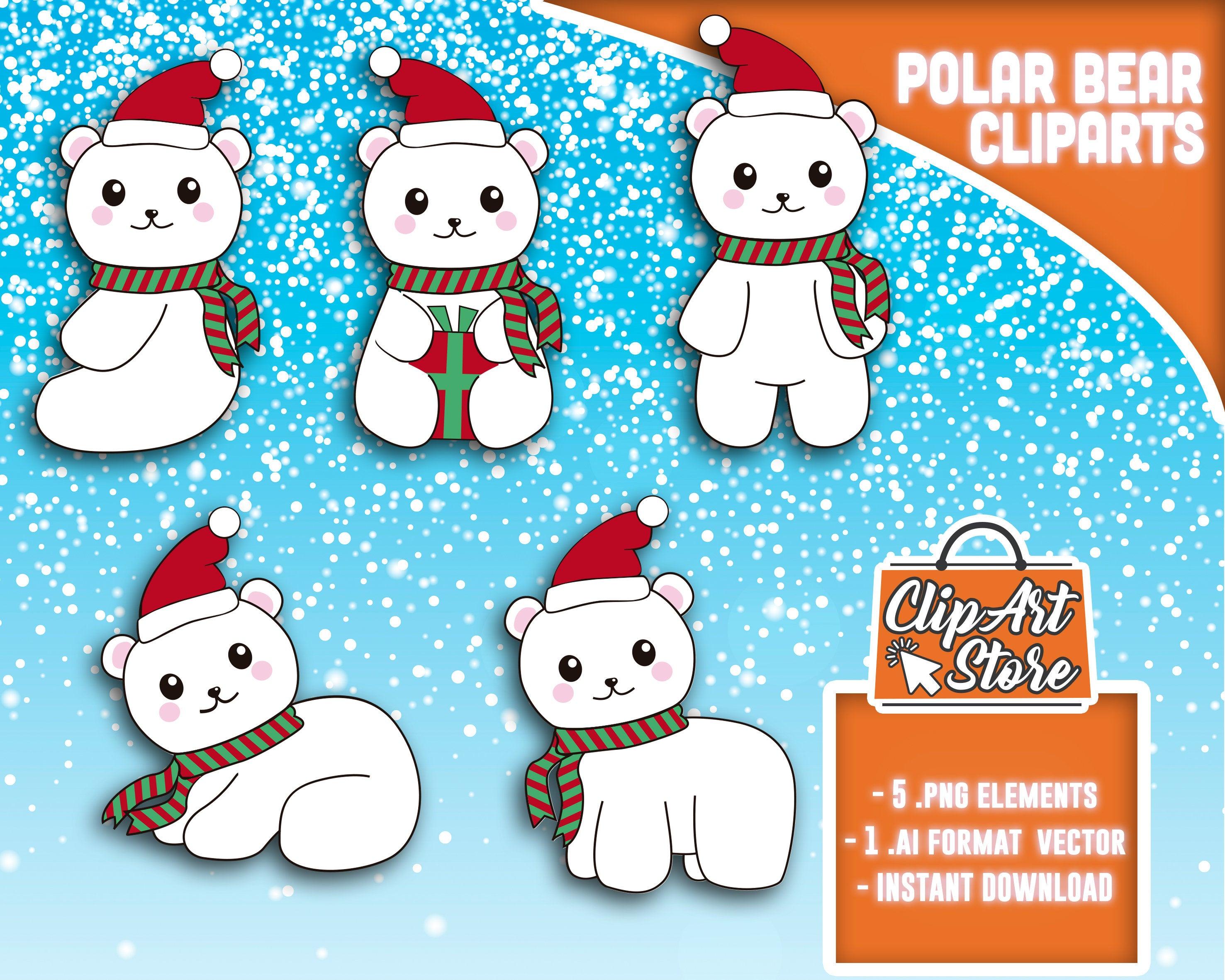 Polar Bear Clipart, Winter bear clipart, Cute baby bears, Baby polar bear,  Christmas bear,Commercial Use, INSTANT DOWNLOAD.