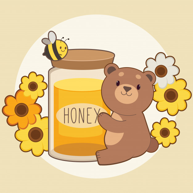 Character of cute bear hugging a big honey jar with bee and.