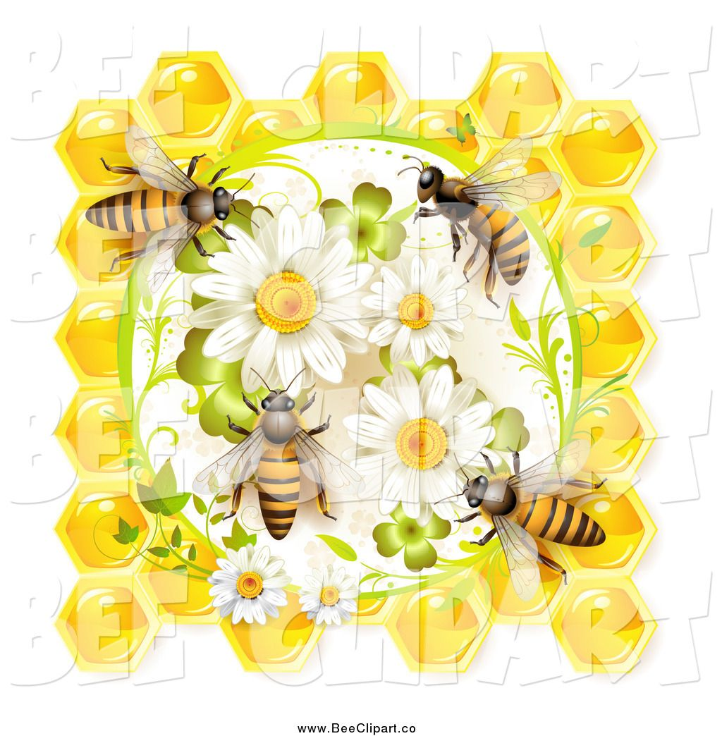 Royalty Free Stock Bee Designs of Honeycombs.