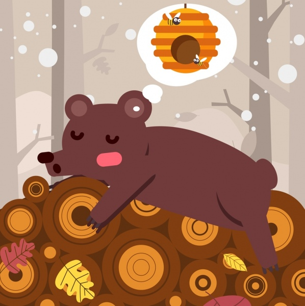 Dreaming background sleeping bear honeycomb thought bubble.