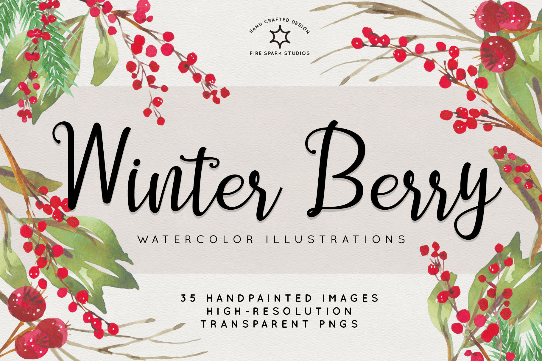 Winter Berry Watercolor Illustrations.