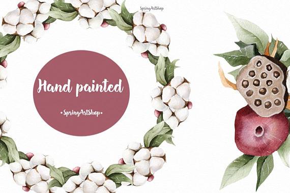 Winter watercolor garnet & cotton Watercolor clipart cotton.