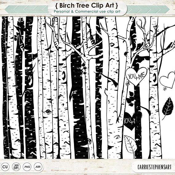 Birch Tree Clip Art, Winter Forest, Tree Branch ClipArt.