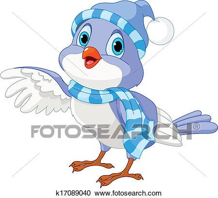 Cute Winter Bird Clipart.